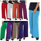 New Ladies Plain Stretch Wide Leg Flared Palazzo Trousers Pants 6-14