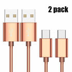 2PC USB-C Type-C Data Sync Metal Braided Charger Charging Cable Cord