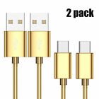 2PC USB-C Type-C Data Sync Metal Braided Lightning Charger Charging Cable Cord
