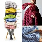 Super Soft Hand Chunky Wool Knitted Blanket Thick Yarn Bulky Throw Bed Linings image