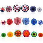 6x Patriotic Hanging Paper Fans Decorations for Independence President's Day