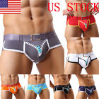 US Men's Fashion Underwear Convex Pouch Brief Sexy Zipper Breathable Pants GIFT