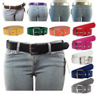 NEW Women's Thick Wide Bonded Leather Belt w/ Removable Silver Buckle 14 Colors