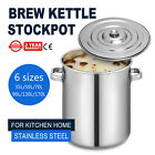 35-180 QT Quart Heavy Duty Thick Base Stainless Steel Stock Pot w/Lid