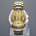 Fashion Men's Luxury Date Gold Dial Stainless Steel Analog Quartz Wrist Watches image