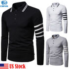 MENS POLO SHIRT TOP LONG SLEEVE PIQUE DESIGNER PLAIN T-SHIRT TEE HORSE GOLF NEW image