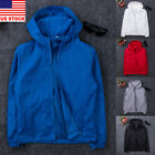 Mens Fashion Windbreaker ZIPPER Jacket Hoodie Sports Outwear Coat Gym US New