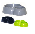 Double plastic Cat Feed Bowl 1 supplied yellow or blue