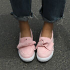 Ladies Womens Bow Flat Trainers Slip On Sneakers Plimsolls Pumps Shoes Sizes