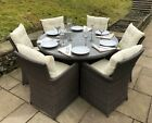 Rattan 6 Seater Andrea Round Garden Furniture Patio Garden Dining Set Brown Grey