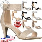 NEW Women Ankle Strap Open Toe Comfortable High Heels Dress Party Heeled Sandals