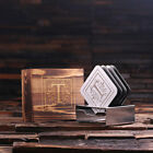 Personalized Monogram 4pc Stainless Steel Square Coasters w/ Wooden Gift Box