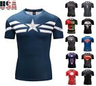 Superhero Avengers Superman Spiderman Compression Fitness T-Shirt Shirt Cycling image