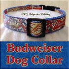 "Budweiser 1"" Adjustable Handmade Dog Collar - 3 Sizes-100% Webbing"