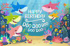Baby shark carnival birthday party banner background photography studio props