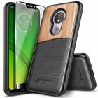 For Motorola Moto G7 Power / G7 Play | Shockproof Slim Canvas Leather Case Cover