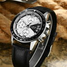 US Men Numerals Chronograph Dial PU Leather Strap Calendar Function Watches GIFT