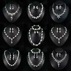 Prom Wedding Bridal Party Jewelry Pearl Crystal Rhinestone Necklace Earrings Set