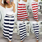 Women's Spring Fashion Lace Up Striped Hight Waist Maxi Casual Long Pencil Skirt