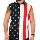 Mens Woven Sleeveless American Flag Patriotic Button Down 4th of July USA