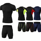 Mens Athletic Outfit Compression Top Shorts Jogging Training Cool Dry Sportswear