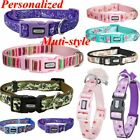 NEW Personalized Floral Dog Collar Nylon Collars for Dogs Side Release Buckle US
