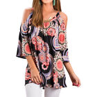 US Women's Cold Shoulder Crew Neck T-shirt Tops Short Sleeve Loose Casual Blouse