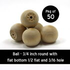 Ball with flat bottom - 3/4 inch unfinished wood (WW-KBB075)