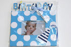 Mud Pie Baby Boy Birthday Blue Autograph Photo Frame 4 x 6 174186D MFR DEFECT