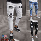 Kyпить Men's Ripped Jeans Super Skinny Slim Fit Denim Pants Destroyed Frayed Trousers на еВаy.соm
