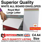 C4 A4 White All Board Envelopes Royal Mail Large Letter Postal Posting PIP