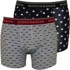 Scotch & Soda 2-Pack Men's Boxer Briefs with Seasonal All-Over Prints, Navy/Grey
