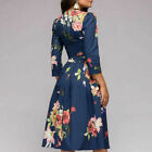 Womens Dress O-neck Long Sleeve High Waist Floral Casual