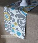 Gray Blue Green Table Runner Dining Kitchen Home Decor Linens Floral Centerpiece
