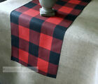 Red and Black Buffalo Check Plaid Table Runner Farmhouse Kitchen Decor Linens