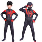 Miles Morales Cosplay Costume Kid Boys Adult Mens One Piece Jumpsuit Fancy Dress