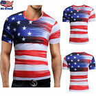Men's America Flag Print Short Sleeve T Shirt Tops Slim Fit Casual Blouse Shirt image