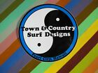 vtg 1970s 1980s T&C Town and Country surf street sticker - Circle Yin Yang logos