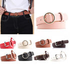 Black Women Lady Simple Metal Boho Leather Round Buckle Waist Belt Waistband