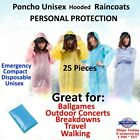 Rain Coat Hooded Poncho Disposable Waterproof Jacket wear emergency hiking LOT