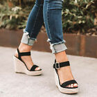 Womens Ladies Platform Wedge Espadrilles Ankle Strap Sandals Summer Shoes Size 6