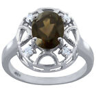3.64 Ctw Smoky Quartz ,Cubic Zircon Sterling Silver Engagement Ring Size 7 #357