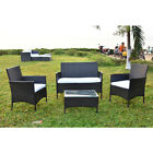 Outdoor Rattan Garden Patio Furniture 4 Pcs Set Lounge Coffee Table Chairs Sofa