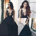 Gothic Black Lace Wedding Dresses Backless Deep V Neck Satin Bridal Wedding Gown