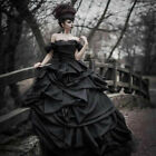 Tiered Ruffles Gothic Black Wedding Dresses Off Shoulder Victorian Bridal Gowns
