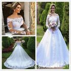 White Lace Appliques Country Garden Wedding Dresses Off Shoulder Bridal Gowns