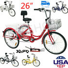 "26"" 7-Speed  Adult 3-Wheel Tricycle Trike Bicycle Bike Cruise Double Basket"