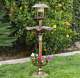 Solar LED Pedestal Bird Bath Feeder W/ Flower Planter Garden Yard Outdoor Decor photo
