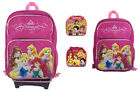 Disney Princess Princesses Large School Black Rolling Backpack Lunch Bag Bottle