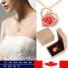 24K Gold Plated Rhinestone Heart Shaped Rose Pendant Necklace for Women
